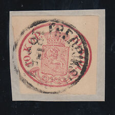 Finland Sc 2 used 1856 10k rose Coat of Arms on Piece, Cert. XF