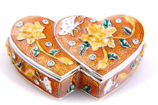 Double Heart shaped jewelry trinket box with Roses & Butterfly designs #071239