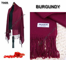 New Classic Burgundy Real 100% Pure Pashmina Cashmere Wool Shawl Wrap Scarf Soft