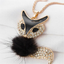 Betsey Johnson Furry Fox Pendant Necklace in Black and Gold with Rhinestones