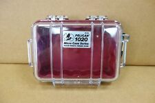 Pelican 1020 Micro Case with Clear Lid and Carabineer, red