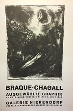 MARC CHAGALL- GALERIE NIERENDORF (1965) - AFFICHE- PRINTED IN 1966-NO RESERVE