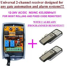 Universal 2-ch rolling & fixed code receiver 433,92MHz + 2 remotes for gates