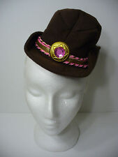Brown Mini Cowboy Hat on Headband  Saloon Girl Cowgirl Halloween Hat New