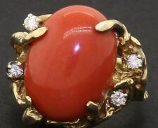 Heavy 14K gold beautiful .20CT diamond/17.9 X 13.3mm Oxblood coral cocktail ring
