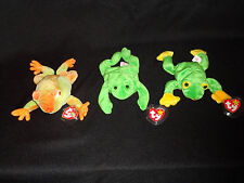 TY FROG BEANIE BABIES SET OF 3 DATED 1993, 1997, 2000