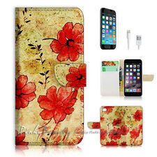 "iPhone 6 (4.7"") Print Flip Wallet Case Cover! Vintage Flower Art P0529"