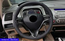 Black Leather Hand-stitched Car Steering Wheel Cover for Honda Civic 2004-2011