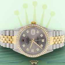 Rolex Datejust 2-Tone Gold/Steel 36mm Jubilee Watch Rhodium Diamond Dial/Bezel