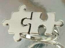 925 Sterling Silver 16mm x 26mm Jigsaw Puzzle Design Ring US 6 3/4 AU N Band 2mm