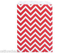 50 Paper Bags Merchandise Gift Sacks 8.5x11 Red White Chevron Valentine Holiday