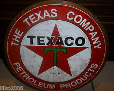 "TEXACO PETROLEUM PRODUCTS, ROUND 12"" METAL WALL SIGN OIL/PETROL/GAS,USA/GARAGE"