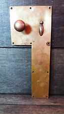 Salvaged Hotel - Period Old Brass Door Finger/Back Push Plate & Knob/Handle