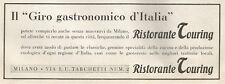 W1569 Ristorante Touring - Milano - Pubblicità del 1938 - Old advertising