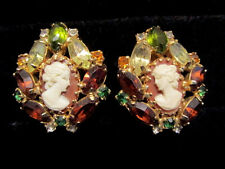 Vintage HOBE Hand Carved Carnelian Cameo Rhinestone Clip Earrings STUNNING