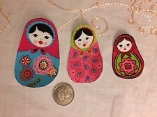 3 Iron on Glue On Sew On fabric Russian dolls patch motif Set Of 3 Cotton Pinks
