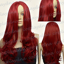 24 inch Hi_Temp Series Dark Red Midpart Curly Wavy Cosplay DNA Wigs 38DDR