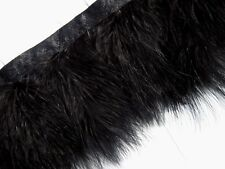F460 PER FEET-Black Turkey Marabou Hackle Fluffy Feather Fringe Trim Craft