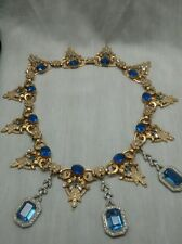 Stunning vtg  Czechoslovakia blue rhinestone gold and silver tone necklace