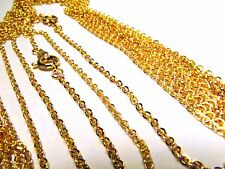 Flat Cable Link Gold Plated Fine Gauge 18 Inch Chain Lot Wholesale 50 Pcs Bulk