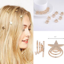 Hot 5pcs/Lot Wedding Bridal Gold Alloy Stars Spiral Hair Pin Clips Hairpin
