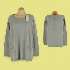 BNIP LONG SLEEVE LIGHT GREY FULL ZIP UP BACK THIN KNIT JUMPER/ TOP SIZE 20-22