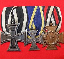 WW1 GERMAN IRON CROSS 2ND CLASS & WAR MERIT CROSSES MOUNTED MEDAL GROUP