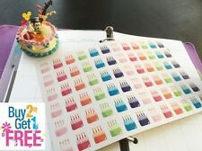 PP082 -- Small Birthday Cake Life Planner Stickers for Erin Condren (72pcs)