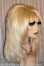 Drag Queen Wig Teased Soft Pale Blonde Feathered Sides to the Face and Long