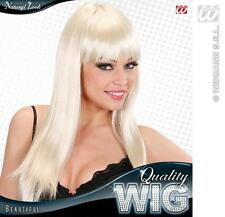 Long Blonde Wig With Fringe Celebrity Cher Lady Gaga Disco Diva Fancy Dress