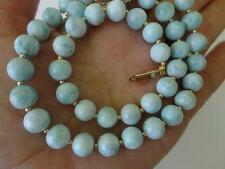 A+ GRADE GENUINE CARIBBEAN LARIMAR 14K SOLID YELLOW GOLD NECKLACE BY ANELE SINGH