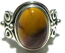 PRETTY RED AND YELLOW NATURAL STONE ARYA DESIGNER STERLING SILVER RING SZ 7.5