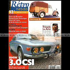 RETRO HEBDO N°47 BMW3.0 CSI TRICYCLE LE ACHE SYCOMORE SIMCA 8 CAMIONNETTE KNIGHT