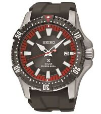 New Seiko SNE383 Solar Diver's 200m Black Rubber Strap Men's Watch
