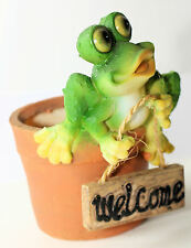 HAPPY FROG ON FLOWER POT WITH WELCOME SIGN REALLY CUTE 15CM GREAT GIFT IDEA*