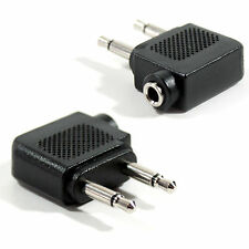 QTY 2 – Aircraft Plane Airline Headphone Audio Adapter–2x 3.5mm Mono to 1 Stereo
