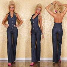 Jeansoverall Neckholder mit Schlaghose Overall Damenoverall Jumpsuit Gr.S/D36