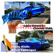 "*60""x240"" Supercast Easy Stretch Chrome Blue Car Vinyl Wrap Bubble Free Sticker"
