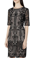 $425 NWT REISS Zola Lace Sheath Dress in Black Size: US6