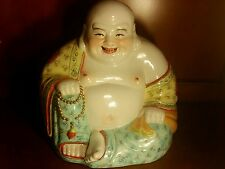 PORCELAIN LAUGHING BUDDHA STATUE CHINA CHINESE PAINTED