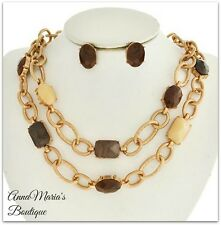 BROWN & CREAM  FACETED STONE GOLD MULTI LINE CHUNKY STATEMENT NECKLACE SET