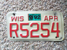 1989-92  Wisconsin  motorcycle license plate  Honda Harley Indian Yamaha Suzuiki