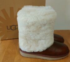 Patten UGG Australia Chestnut Leather Sheepskin Cuff Boot NIB Size 6