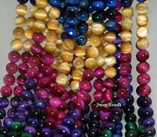 6MM TIGER EYE GEMSTONE GRADE AAA GOLD BLUE GREEN RED ROUND 6MM LOOSE BEADS 15.5""