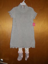 Isaac Mizrahi Cotton Rich S/S Knitted Dress & Tights 3-4yrs 104cm Grey Mix BNWoT