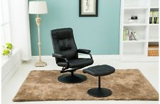 Black Faux Leather Swivel Chair Including Footstool Sturdy Strong Round Base