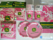JOHN DEERE PINK - Birthday Party Supplies Set Pack for 16 DELUXE KIT !!