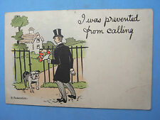 Comic Postcard 1911 BULLDOG Theme - I WAS PREVENTED FROM COMING