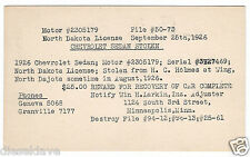 1926 Chevrolet Sedan STOLEN CAR Postcard Mpls Ins Co to Police Chief Sibley Iowa