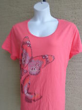 NEW Just My Size Graphic Scoop Neck S/S Cotton Tee Shirt Coral 2X